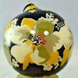 "Vera Bradley Decorative Dogwood Glass Ornament w/Padded Box (2012) 4"" Round"