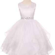 Flower Girl & Communion Dresses Cinderella Couture 1198--Color White--Size 10