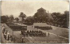 pre WW1 BRITISH SOLDIERS Garrison Church Parade WOOLWICH Band Photo PC c1910s