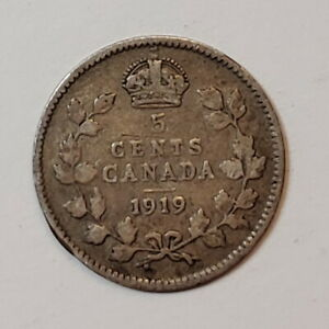 1919 Canada 5 five cents SILVER - COMBINED SHIPPING - C5-050