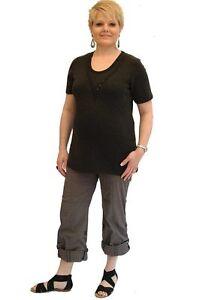 New Womens Plus Size Pregnancy Maternity Cargo Pants Comfort Cross Waist