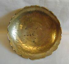 Vintage Chinese Brass Bowl 6 inches wide C.1920s: Engraved Dragons & Petal Rim