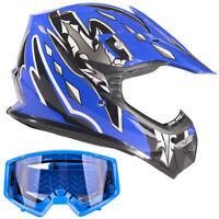 New Youth Blue Motocross Helmet With Blue Goggles Combo Kids DOT Offroad ATV UTV