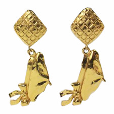Chanel Gold Tone Quilted Drop Dangle Earrings Coco's Beret 1970's