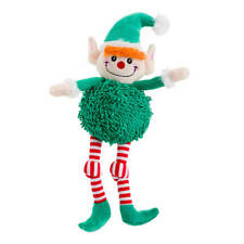 House of Paws Christmas Pom Pom Elf Dog Toy | Noodle Squeaky Plush Festive Green