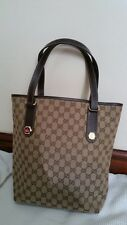 08d49b4394d789 Authentic GUCCI GG Pattern Canvas, Leather Browns Beige Shoulder Bag