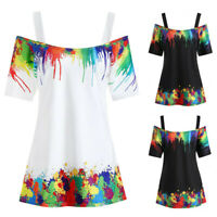 Women Ladies Tie Dye Sling Cold Shoulder Blouse Casual T-Shirt Top Plus Size Tee