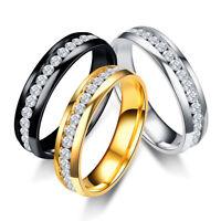 6mm Stainless Steel Engagement Cz Band Men Women Wedding Ring Silver/Gold/Black