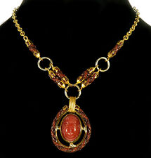 VTG EGYPTIAN REVIVAL CARVED CARNELIAN GLASS SCARAB LEATHER BRASS NECKLACE
