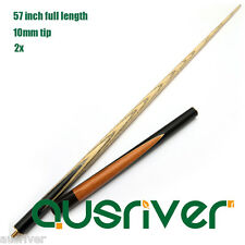 2PCS Wooden Maple Snooker Pool Billiards Cues 10mm Tip 3/4 Split Brass Ferrule