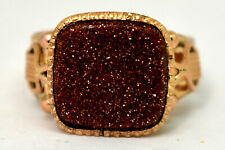 Antique 14K Solid Rose Gold and Large Gold Stone Ring Size 12.5