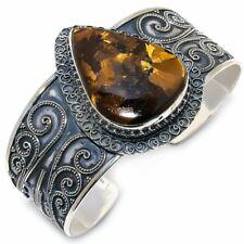 Bronzite Jasper Gemstone Vintage 925 Sterling Silver Cuff Bracelet Adjustable