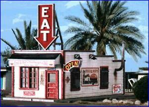 HO Scale - Fred and Red's Cafe - Laser Cut Wood, BUILDING KIT  - BLN-190