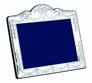"""Solid Silver Photo / Photograph Frame (Swag & Bow) 7 X 5"""" Landscape"""