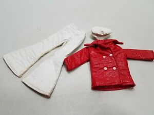 """Barbie Fashion Doll Red Mod """"Faux""""Leather Coat White  Bell Bottoms Pants & Hat"""