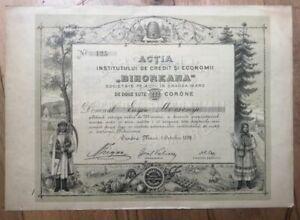 """Hungary Romania Transylvania """"Bihoreana"""" Oradea Nagyvarad Share 200 Korona"""
