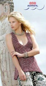 Adriafil Margarita Fashion Yarn Rose Knitting Pattern Ladies V-Neck Tank Top