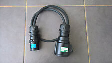 1m All Black 16A Plug to 32A Socket Adaptor - 2.5mm H07RN-F Cable - EVENT/STAGE