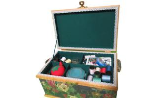 "Vintage 1970s Floral Print Sewing Basket Box W/ Handle & Sewing Supplies 11""L"