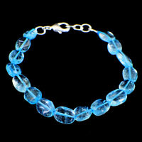 60.00 Cts Natural 7 Inches Long Aquamarine Oval Shape Beads Bracelet NK 16E40