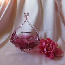"""Murano Split Handled Basket Cranberry / Clear appx. 9""""tall"""