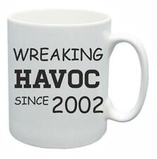 16th Novelty Birthday Gift Present Tea Mug Wreaking Havoc Since 2002 Coffee Cup