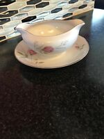 Sterling Rose Diamond China Gravy Boat And Attached Plate