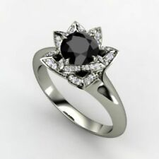 Certified Black Diamond Engagement Ring 3.10Ct Round Cut in Solid 14k White Gold