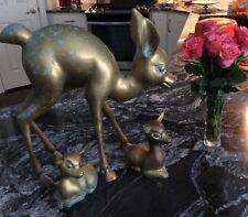 Vintage Mid Century Brass Deer Set Large