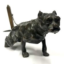 Antique Bronze Sculpture Of A Staffordshire Terrier Bull Dog With Glass Eyes