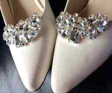 Clear Crystal Wedding Bridal Diamante Crystal Sparkle Shoe Clips Pair