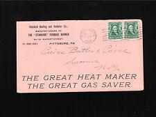 Standard Heating Radiator Mfg Furnace Burner SLOGAN Pittsburg 1904 PA Cover ¤