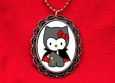 HELLO DRACULA KITTY VAMPIRE CAT PENDANT NECKLACE GOTH