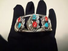 #61-VINTAGE STERLING SILVER CUFF WITH TURQUOISE AND CORAL-VERY NICE
