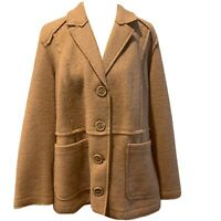 NEW CHICO'S Size 3 (Size 16) Boiled Wool Copper Brown Camel Jacket Coat NWT $149