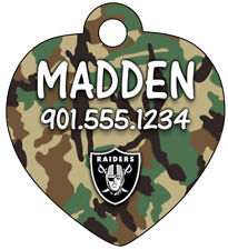 Oakland Raiders NFL Camo Dog Tag Cat Tag Pet ID Personalized w/ Name & Number
