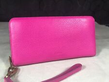 Fossil Emma Hot Neon Pink Leather Wallet Phone Wristlet Large Zip Clutch RFID