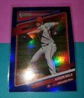 2021 Donruss Baseball Base Holo Blue #104 Aaron Nola - Philadelphia Phillies