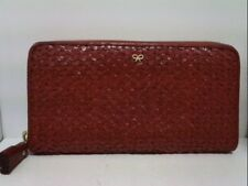 Auth Anya Hindmarch Red Leather Long Wallet