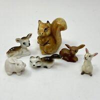 Vtg Set of 5 Anthropomorphic Animal Figurines Deer Bunny Fox Rabbit Squirrel