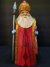 Russian Hand Carved , Painted And Signed Santa