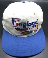 ENGLAND vintage white / blue adjustable cap / hat - UK Made - 100% cotton