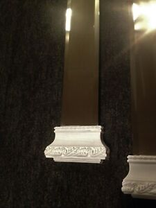 """2~Oblong Hanging Pillar Mirrors Shabby Chick Style White W/ Gold Inlay 26""""LX6""""W"""