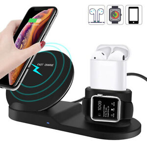 For iPhone 11 X Apple Watch 3in1 Wireless Qi Fast Charger Dock Stand