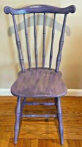 Vintage Refurbished Spindle Back Elegant Solid Wood Purple Paint Chair 36x19x16