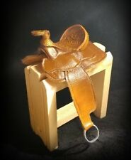 Traditional Cm OOAK Breyer/Peterstone Western Saddle Nuetral Brown/Embossed Seat