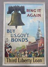 ORIGINAL WW1 Vintage LIBERTY BELL POSTER US GOVERNMENT BONDS THIRD LIBERTY LOAN