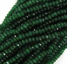 """5X8MM FACETED EMERALD GREEN JADE RONDELLE ABACUS LOOSE BEADS STRAND 15"""""""