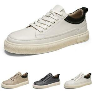 Mens Low Top Faux Leather Sneakers Shoes Trainer Sports Outdoor Running Sports L