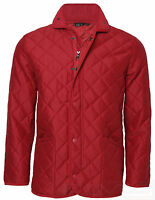 Mens RED CAR Diamond Padded/Quilted Hunter Style Jacket/Coat S, M, L, XL & XXL